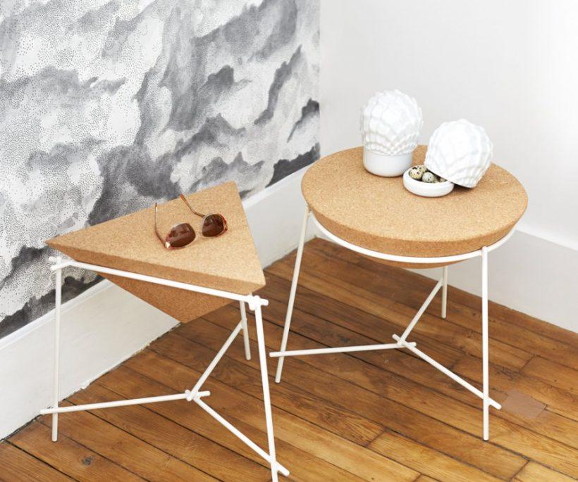 Tables d'appoint Basil en liège et acier, diamètre 46,7 cm x H 43 cm, 340 euros, Petite Friture