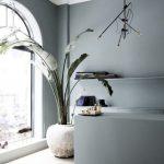 Salon : mur gris vert
